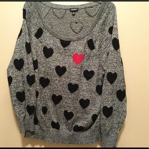 Black and gray heart sweater.